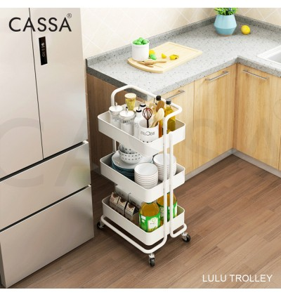 Cassa LULU 3 Tier Trolley Kitchen Storage Racks Office Shelves Book Shelving Kitchen Organizers Space Savers