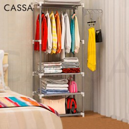 Cassa Nero 170cm (5.5 Feet) Open Closet Wardrobe Clothes Hanging Rack with Coat Bag Hanging Rack + 4 Tiers Multipurpose Rack for Folding clothes bag pillow storage