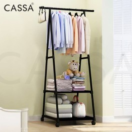 Cassa Dino 160cm (5.3 Feet) Bedroom Open Closet Wardrobe Triangle Designed Modern Clothes Hanging Rack with Coat Bag Hanging Rack with Roller Wheels + 2 Tiers Multipurpose Rack for Folding clothes bag pillow storage