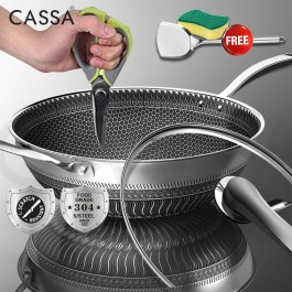 CASSA QATA [ SUPER SCRATCH DURABLE ] 32CM/34CM Stainless Steel 304 Non Stick Double Sided Honeycomb Cooking Frying Pan Wok (With Lid/Without Lid) For Electric Stove Induction Cooker and Gas Stove