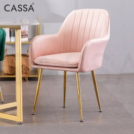 Cassa Rossy Pink [Armrest + High Comfort Cushion seat + Gold Metal Legs] High Weight Support Up to 120KG Office/Dining/Makeup Arm Chair Designer Chair Living Room Dining Room Bedroom