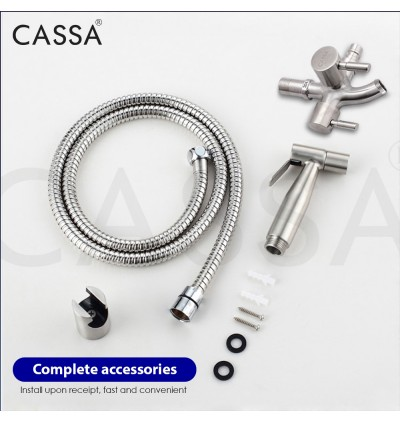 Cassa 304 Stainless Steel FULL SET Two Way Tap Bathroom Toilet Washing Machine Faucet with Bidet Spray Holder and Flexible Hose