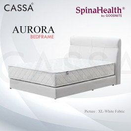 Cassa Goodnite Amora White Fabric Queen Bed Frame Headboard with 9 Inches High Divan Only (Heavy Duty - Wood Structure)