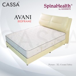 Cassa Goodnite Avani Cream Fabric Queen Bed Frame Headboard with 11 Inches High Divan Only (Heavy Duty - Wood Structure)
