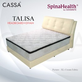 Cassa Goodnite Talisa Cream Fabric Queen Bed Frame Headboard with 11 Inches High Divan Only (Heavy Duty - Wood Structure)