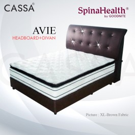Cassa Goodnite Avie Brown Fabric Queen Bed Frame Headboard with 11 Inches High Divan Only (Heavy Duty - Wood Structure)