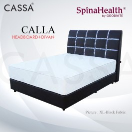 Cassa Goodnite Calla Black Fabric Queen Bed Frame Headboard with 11 Inches High Divan Only (Heavy Duty - Wood Structure)