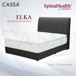 Cassa Goodnite Elka Brown Fabric Queen Bed Frame Headboard with 11 Inches High Divan Only (Heavy Duty - Wood Structure)