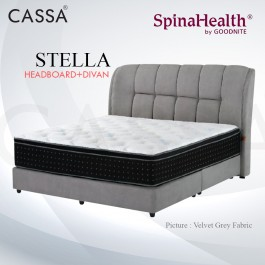 Cassa Goodnite Stella Grey Fabric Queen Bed Frame Headboard with 11.5 Inches High Divan Only (Heavy Duty - Wood Structure)