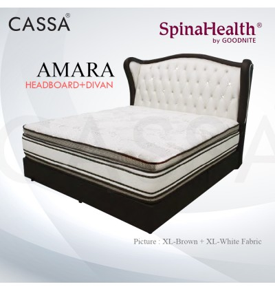 Cassa Goodnite Amara White Brown Fabric Queen Bed Frame Headboard with 11 Inches High Divan Only (Heavy Duty - Wood Structure)
