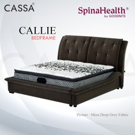 Cassa Goodnite Calie Dark Grey Fabric Queen Bed Frame Headboard with 19.5 Inches High Divan Only (Heavy Duty - Wood Structure)