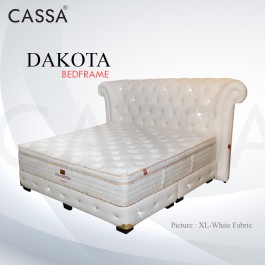 Cassa Goodnite Dakota White Fabric Queen Bed Frame Headboard with 11.5 Inches High Divan Only (Heavy Duty - Wood Structure)