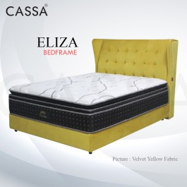 Cassa Goodnite Eliza Velvet Yellow Fabric Queen Bed Frame Headboard with 11.5 Inches High Divan Only (Heavy Duty - Wood Structure)