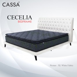 Cassa Goodnite Cecelim White Fabric Queen Bed Frame Headboard with 10 Inches High Divan Only (Heavy Duty - Wood Structure)
