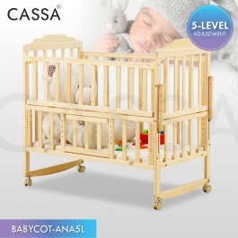 [5 Heights Adjustable] Cassa Cradle Baby Mattress / Baby Cot Baby Swing Bed Natural Solid Wooden Standing Still with Rollers/Rocking without rollers (Natural Wood Colour)