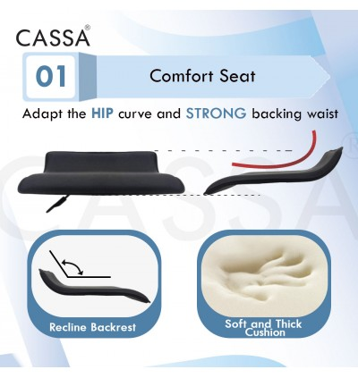 Cassa Premium Simple Flat Black Height Adjustable Make Up/Study/Dining/Office Swivel Chair with Heavy Duty Base Legs with Wheels and Lift