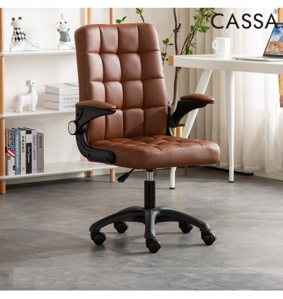 Cassa City Office Chair/Computer Chair/Game Chair With High Backrest Swivel Padded and Checkered-design Backrest (Kerusi office/Kerusi pejabat) (Rotating lifting armrest)