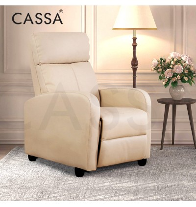 Cassa Vios Padded Seat Home-use Reclining Ergonomic Lounge Chair Single Sofa Recliner Armchair with PU Leather Upholstered (Sofa Baring)