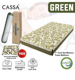 """Cassa Glideaway Compressed Roll Pack Fixed into Box Pack 7"""" Cool Gel Memory Foam + Washable BekaertDeslee (Germany) Cover Single Mattress (Free 1 unit Memory Foam Pillow)"""