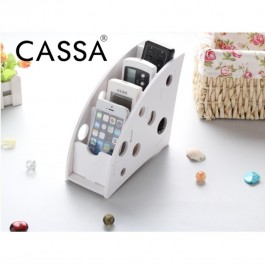 Cassa English European Style Wooden Remote Control Organizer- White