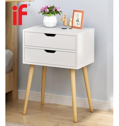 Cassa Eamos Wood End Table Modern Nightstand Sofa Side Table with 2-Drawer Storage Chairside Bedside Table for Bedroom Office (White/Maple)