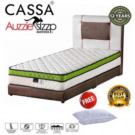 Aussie Sleep Australia Italia Sunno Chiropractic Spring Single/Super Single/Queen/King Mattress (4D 3 top Plush-Top)(12 Years Warranty)(ExportQualityupgrading)Free Pillow""