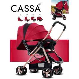 Cassa Super Big SIze Comfortable Multi Function Baby Stroller Swiveling Wheels Red