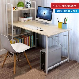 Cassa Maple/White Study Desk 120x55cm with Book Shelf 3 Tier with Eames Chair (White)