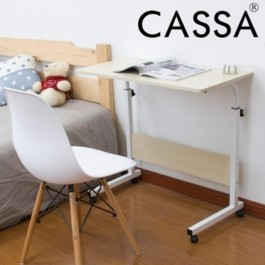 Cassa Eames Chair (White) with Sevil Mobile Height-Adjustable Table 60cmX40cm with Wheels Laptop Computer Desk Only (White Purplish)