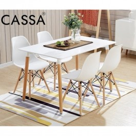 Cassa Eames White /Brown Stylish Dining Set of 4 (Square Dining Table 120x60 cm together with 4 unit Eames White Seat Natural Wood Legs Chair)