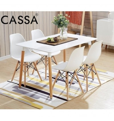 Cassa Eames White Stylish Dining Set of 4 (Square Table 120x60 cm together with 4 unit Eames White Seat Natural Wood Legs Chair)
