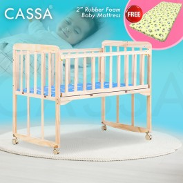 "[UPGRADED 8 Wood Legs Support] Cassa Cradle Baby Cot Baby Swing Rocking Bed Natural Solid Wooden with Cassa 2"" Rubber Foam Baby Mattress"