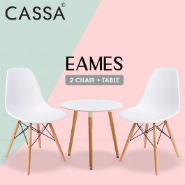 Casa Eames White Stylish Set (Magazine Round Table 40 cm together with 2 unit Eames White Seat Natural Wood Legs Chair)