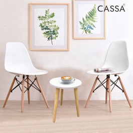Casa Eames White Stylish Set (Magazine Round Table 30CM together with 2 unit Eames White Seat Natural Wood Legs Chair)