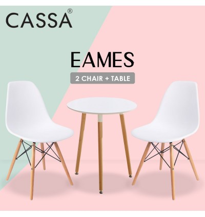 Cassa Eames Stylish Discussion / Meeting / Dining / Hi-Tea 60cm Round Table together with 2 unit Eames White Seat Natural Wood Legs Chair