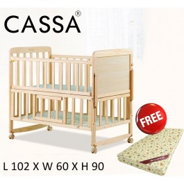 Cassa Ana 2 (Size:102cmx64cm) Height Cradle Baby Cot Bed Wooden Rocking (Natural) with Sunpillo High Density 4 Inches Thick Rubber foam Baby Mattress (98X55)