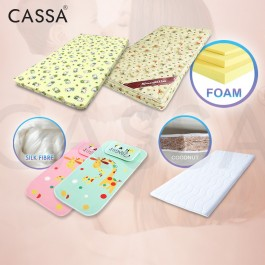 Cassa Rubber Foam/Coconut Fibre/Silk Fibre Baby Mattress & Cotton Bedsheet (Fit to Baby Cot 94cm, 100cm and 120cm)