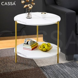 Cassa Oslo Rogold Elegante Simple Modern Coffee Table/ Side Table ( White Table Top + Gold Colour/Wood Legs )