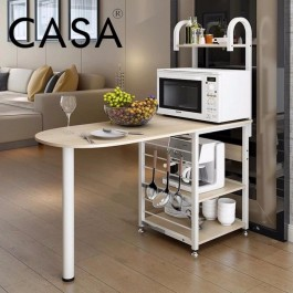 Cassa Becon Bar Counter Kitchen Baker's Rack Microwave Oven Stand Storage Cart Workstation Shelf (Maple/Wenge)