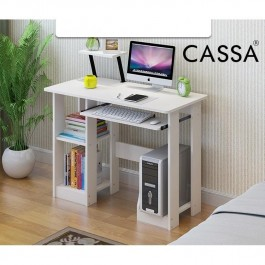 Cassa Computer Desk Attached with Cabinet and Rack