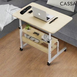 [BIGGER SIZE] Cassa Sevil Mobile Height-Adjustable Table 80cmX40cm with Wheels Laptop Computer Desk Only (With Book Rack/Without Rack) - Color: Maple/White