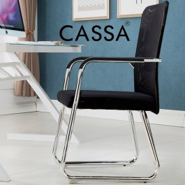 Cassa Normad Office Side Chair Visitor Chair with Breathable BlackMesh Back (One Piece Strong Structure)