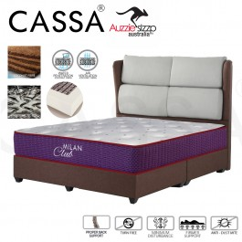 Aussie Sleep 10 Inches Thick Milan Italian Embroidery Designed (Foam block +Coconut Layering) Imported Knitted Fabric Top Single/Super Single/Queen/King Chiropractic Spring Mattress