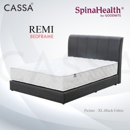 Cassa Goodnite Remi Black Fabric Single/SuperSingle/Queen/King Bed Frame Headboard with 16cm (Leg 10cm) High Divan Only (Heavy Duty - Wood Structure)