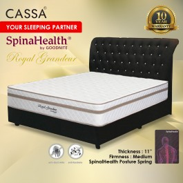 "Cassa Goodnite Royal Grandeur Luxury Firm 11"" Single/Super Single/Queen/King Spinahealth Posture Spring mattress only"