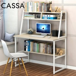 Cassa Maple Maserati Modern Study Table with Book Shelves 3-Compartments Shelves