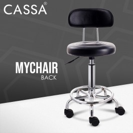 Cassa Relief Hydraulic Well Medical Spa Ergonomic Works Drafting Stool Chair BackvRest with wheels Black