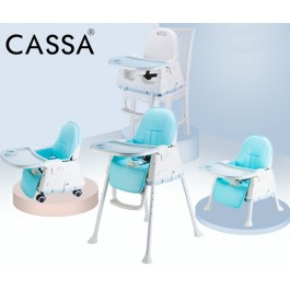 Cassa Children 3in1 Multipurpose Portable Dining Adjustable Pu Leather Cushion Baby Chair ( Free Wheel Rollers )