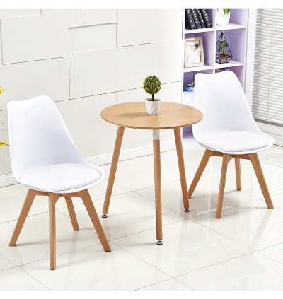 Cassa Eames Romeo [Upgraded Version BIGGER SIZE SEAT + Romeo Luxury Comfort Cushion seat + Thicker Material Support] High Quality [Super Weight Support Up to 360KG] Office/Dining Chair Beech Wood Leg Design Living Room Kitchen White/Black
