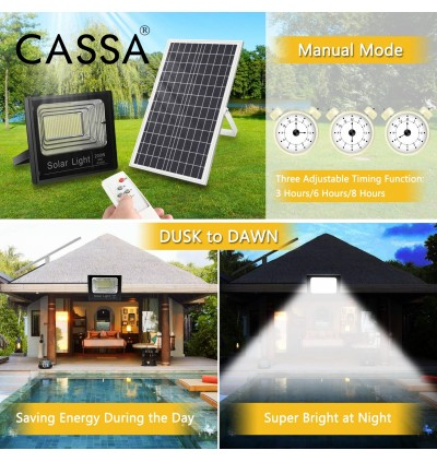 Cassa Hi Quality Led Solar [100W] Tempered Glass IP67 Waterproof Outdoor Spotlight Floodlight Fast Charging [ A-Level Solar Panel ] Usage Up to 8-12Hours Come with 180 Degree Rotation Bracket (1 Year Warranty)